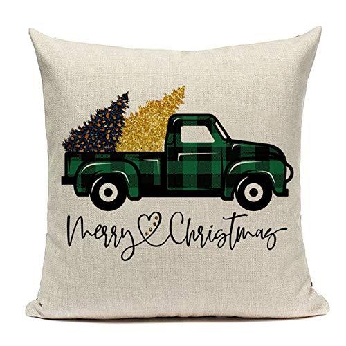 HAUSHAIT Feliz Navidad Cojín Cubierta Camión árboles Lino Almohada Cubierta de Almohada para la Sala de Estar Decoraciones de Navidad para el hogar 18x18 Funda de Almohada Relleno Rodante Cojín Donut