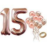 Number 15 Balloon for 15th Birthday Decorations - Large, 40 inch Rose Gold, Pack of 12 | Rose Gold Confetti Balloons | Rose Gold 15 Number Balloon for 15th Birthday Party Supplies, Girls or Boys…