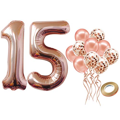 Number 15 Balloon for 15th Birthday Decorations - Large, 40 inch Rose Gold, Pack of 12 | Rose Gold Confetti Balloons | Rose Gold 15 Number Balloon for 15th Birthday Party Supplies, Girls or Boys