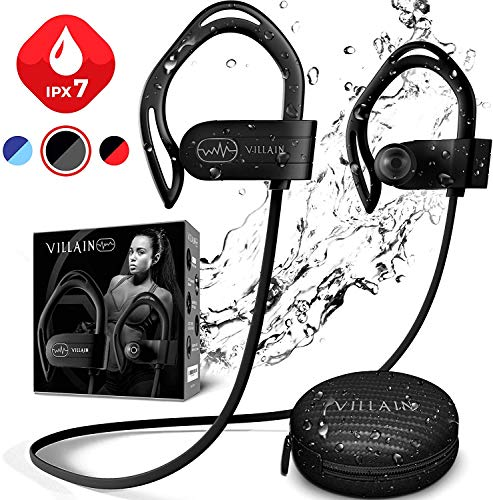 Villain Bluetooth 5.0 Wireless Earbuds - aptX HiFi Sound & Clear Thumping Bass - Best Headphones for Sport, Running, Gym, Workout - IPX7 Waterproof Earphones with Microphone
