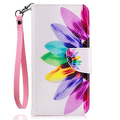 LG K20 Plus Case, LG K20 V Case, LG Harmony Case, JanCalm [Wrist Strap] [Kickstand] [Card/Cash Slots] Pattern Premium PU Leather Wallet Case Flip Cover + Crystal Pen (Rainbow Flower)