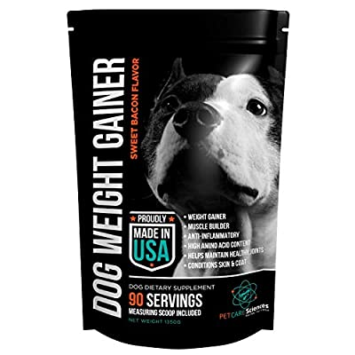 Weight Gain Supplement, Helps Recovery From Injury and Builds Muscle, Multi Benefit, Helps Maintain Healthy Joints, Conditions Skin and Coat. Sweet Bacon Flavor Powder, 1.75 pounds, Made In The USA