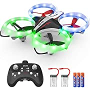 KO-ON Drone for Kids and Beginners RC Helicopter Quadcopter with LED Lights, Altitude Hold, Headless Mode, 3D Flips, One Key Take Off/Landing and Extra Batteries Toys for Boys and Girls