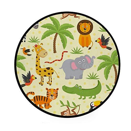 Orediy Tapis rond en mousse souple - 92 cm - Motif animaux de la jungle - Léger - Tapis de sol pour chambre d'enfant - Tapis de yoga pour salon, chambre à coucher