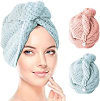 Bigmeda Drying Hair Towels [2 Pack] Soft Lightweight Highly Absorbent Fast Drying Polyester Hair Towel with Elastic Band...
