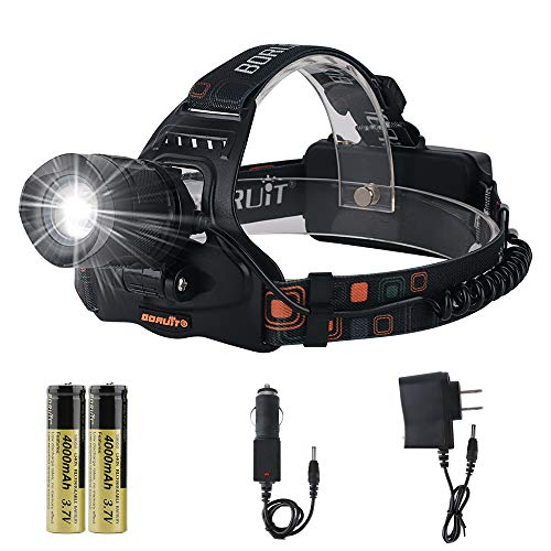 Boruit LED Zoomable Headlamp Flashlight,5 Modes 3000 Lumens IPX5 Waterproof USB Headlamp with Batteries for Camping, Hiking, Reading, Cycling, Hunting, Running