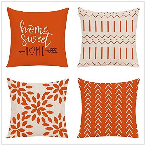Fundas de Cojín Figura Geométrica Rayas Sweet Home Naranja de Lino Cuadrado Funda de Almohada Decor Cushion Covers para Salón Sofá Dormitorio Throw Pillow Case Juego de 4 L2142 50x50cm/20x20inch