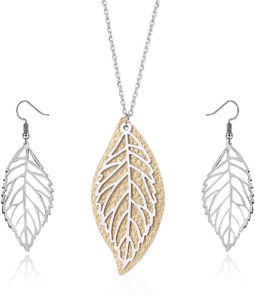 2 Pcs Boho Leaf Long Pendant Necklace and Earrings Minimalism Fashion Hollowed-Out Handmade Trendy Filigree Bohemian Jewelry for Women Girls