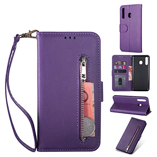 Zipper Wallet Case with Black Dual-use Pen for Samsung Galaxy A20/A30,Aoucase Money Coin Pocket Card Holder Shock Resistant Strap Purse PU Leather Case for Samsung Galaxy A20/A30 - Purple