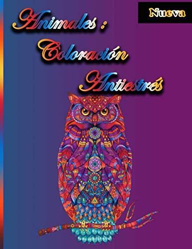 animales: coloración antiestrés: Libro de colorear para adultos de animales de alivio del estrés