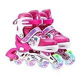 Zeroall Patin à Roues Alignées Rollers en Ligne pour Enfants Patins à roulettes Réglables Inline Skate avec Illuminées Roues Excellents Cadeaux pour Enfants Garçons Filles(Rose)