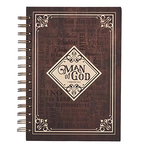 """Christian Art Gifts Large Hardcover Notebook/Journal   Man of God – 1 Timothy 6:11 Bible Verse   Names of God Brown Inspirational Wire Bound Spiral Notebook w/192 Lined Pages, 6"""" x 8.25"""""""