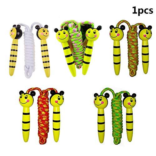 Soccik Springseil Tiere Kinder Retro Springseil Bienenmuster Hölzern Griffe Sport und Spaß Hüpfseil