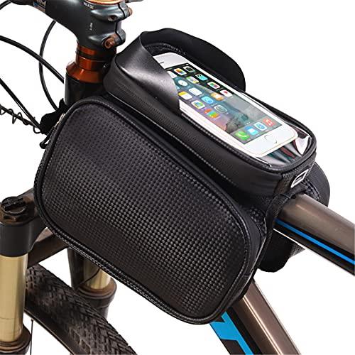 GHJGTL Bolso del Estante De La Bicicleta, Bolsa De Teléfono Móvil A Prueba De Agua A Prueba De Agua, Bolsa De Monte Bicicleta De Montaña, Bolsa De Almacenamiento De Equipos De Ciclismo,Negro