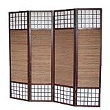 PEGANE Biombo de Madera de 4 Paneles Color castaño con bambú Especial Talla 2 m