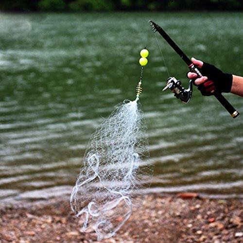 Alecony Fischernetz,Angeln Net Kupfer Nylon mit Leuchtperlen Perlen für Nacht Angeln,Wurfnetz Angelnetz Gaze Netz Handschlaufe und Ring Cast Fischernetz,Shoal Süßwasser-Fischerei-Tool (9#)