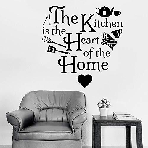 La cocina de la etiqueta de la pared es un hogar de una sola puerta ventana corazón etiqueta de vinilo arte amor cocina decoración de interiores papel pintado creativo corazón
