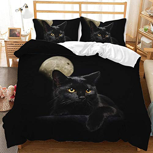 YZDM Animal Cat Duvet Cover Bedding Set, 3D Printed Children's Cartoon Microfibre Bedding Set, for Children Teenagers (Size 260 x 220)