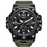 Fomtty Orologio da polso orologi analogico digitale orologio da polso sportivo impermeabile Uomo LED digitale orologio con cronometro per uomini (Army Green)