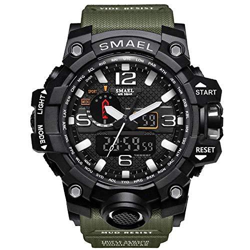 Orologi Militari Uomo,Fomtty Orologio da Uomo Analogico e Digitale, Orologio Sportivo, Impermeabile Orologio LED con Cronometro LED Digitale Orologio Luxury Casual Wristwatch (Army Green)