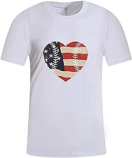 Jianekolaa Unisex Creative Heart Print Short Sleeve Patriotic T-Shirt Casual Graphic Tee