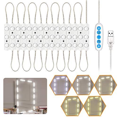 Luces LED de Espejo, Luces de camerino, DIY Lámpara para Espejo de maquillaje, Luces Modulos Para espejo, armario, estantería, tocador, 45 Bombillas LED