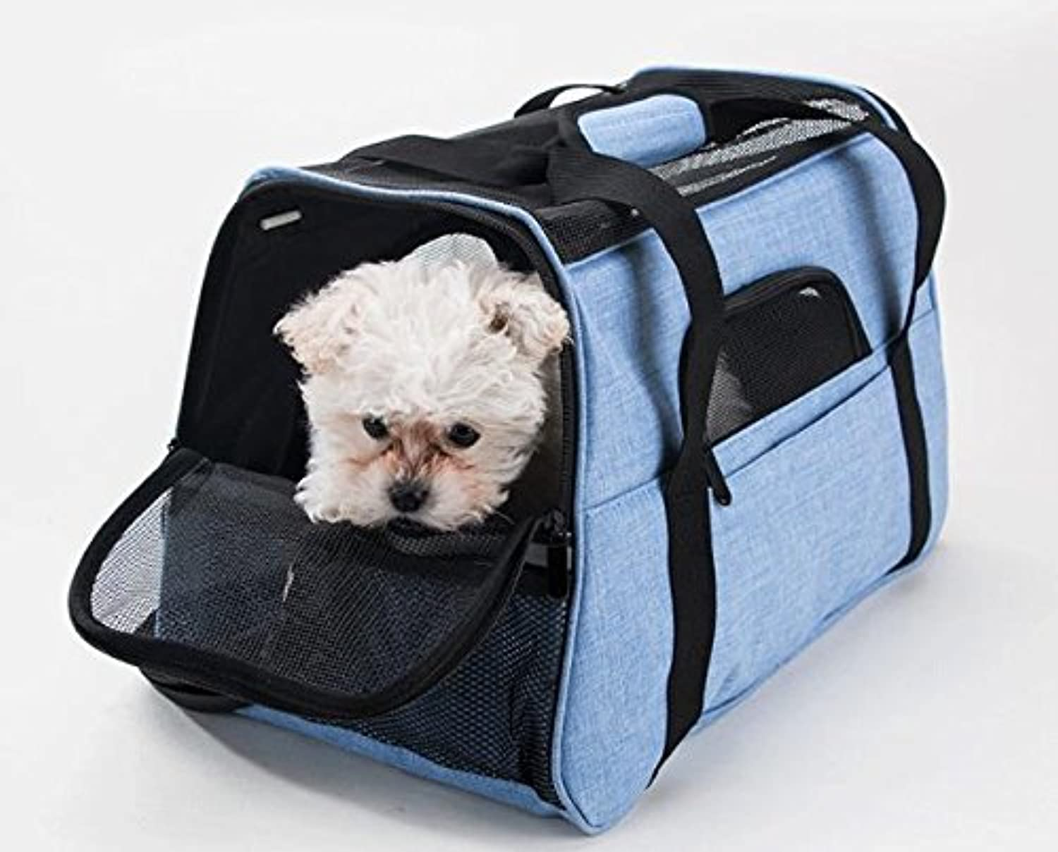 IW.HLMF Pet Travel Carrier Shoulder Bag Comfort Expandable Foldable Travel Carriers For Dogs And Cats Backpack Supplies(46cm X 25cm X 33cm)