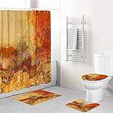 LONSANT Duschvorhang Set,Abstrakte Kunst in Rot-Orange,Rutschfesten Teppichen Toilettendeckel & Badematte Wasserdichter Duschvorhang für mit 12 Haken