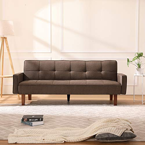 Sofa Bed Couch Modern Linen Fabric Tufted Convertible Sleeper Futon Sofa Expandable Memory Foam Cushion for Living Room or Bedroom 3 Angles for Adjusting (Brown)