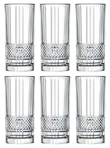 Highball - Glass - Set of 6 - Hiball Glasses - Lead Free Crystal - Beautiful Designed - Drinking Tumblers - for Water, Juice, Wine, Beer and Cocktails - 13 oz. - by Barski - Made in Europe