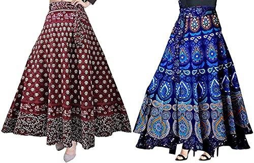 Kanika Fashion Women's Cotton Rajasthani Printed Wrap Around Skirts (Multicolor, Free Size)- Combo of 2