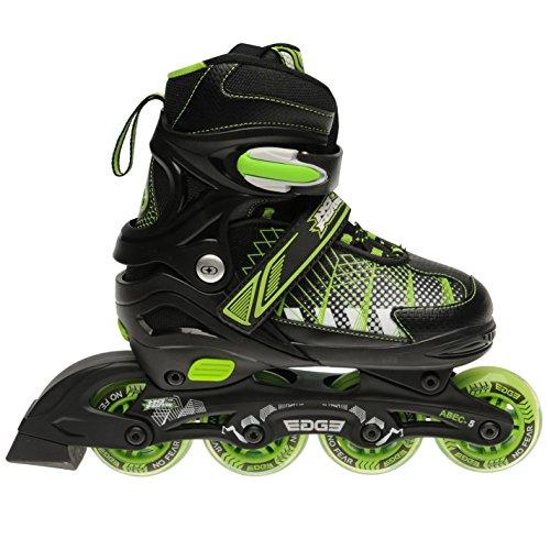 No Fear Edge Inline-Skates Roller Blades für Kinder Jungen 4 Rollen, schwarz / grün, UK 4-6.5