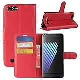HualuBro Doogee X30 Hülle, Premium PU Leder Leather Wallet Handyhülle Tasche Schutzhülle Hülle Flip Cover mit Karten Slot für Doogee X30 5.5 Inch Smartphone (Rot)