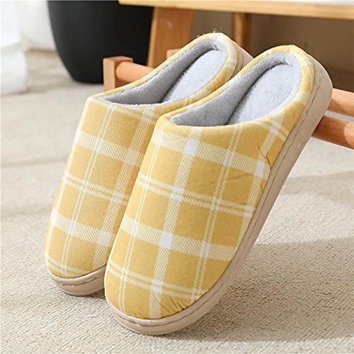 Zapatillas Peluche Mujer,Zapatillas de algodón de Felpa del Amor de los hogares, Zapatillas de algodón Antideslizantes del Piso Grueso-Amarillo 3_44-45,Zapatillas de Algodón con Memoria