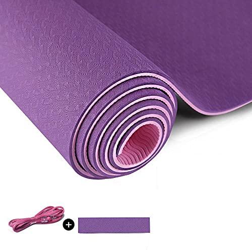 Yumhouse Colchoneta de Ejercicio Antideslizante,Esterilla de Yoga Profesional Antideslizante Fitness Two-Color-6_183 * 61 * 6mm,Alfombra Antideslizante