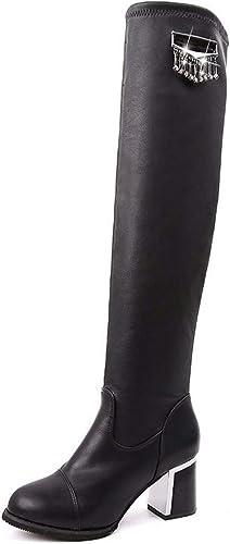 LBTSQ LBTSQ LBTSQ Chaussures Femme Plate - Forme D'Imperméables Bottes La Hauteur du Talon De 7 Cm De Talon épais des Bottes d'hiver Milieu Talon Zipper Martin Bottes 032