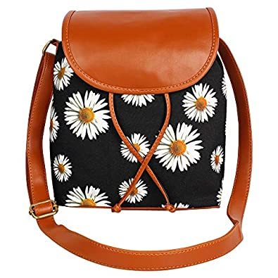 Lychee Bags Women Canvas/PU Amie Sling Bag for Girls (Black, Brown)