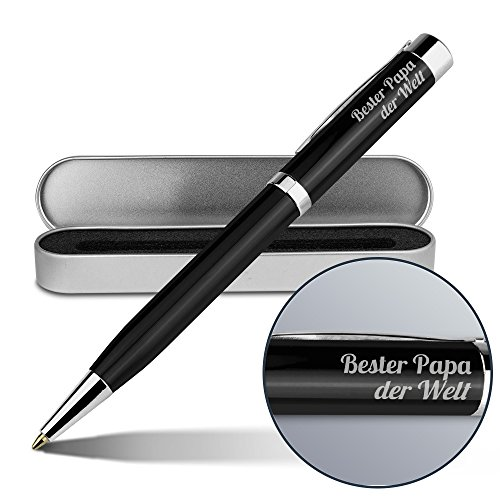 Kugelschreiber mit Namen Bester Papa der Welt - Gravierter Metall-Kugelschreiber von Ritter inkl. Metall-Geschenkdose