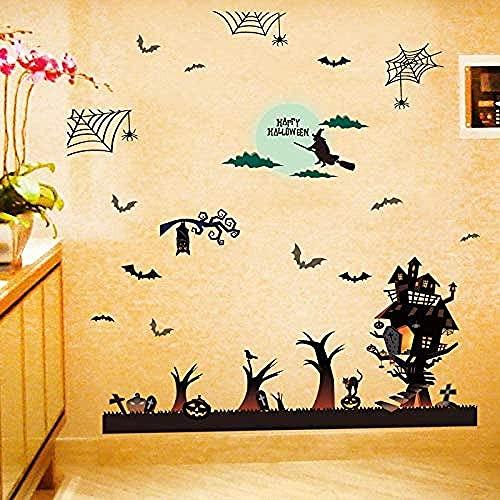 Pegatinas de pared,Halloween casa embrujada bar hogar ordenado esquina decoración etiqueta de la ventana etiqueta de la puerta corredera de vidrio 86x116 cm,mural Decoración hogareña