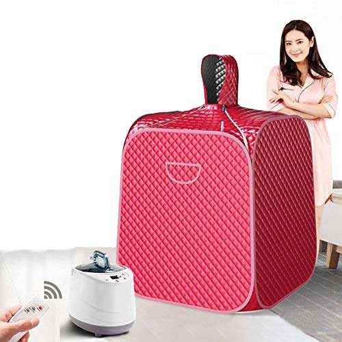 ALY Healthy Steam Sauna Portable Spa Room Home Beneficial Full Body Slimming Folding Detox Therapy Steaming Sauna Cabin Bathtub,Red