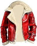 Gearswears Herren A2 Bomber rot mit beige Kunstfellkragen Fliegerjacke aus echtem Lammleder Gr. XXXXXXXXL, rot