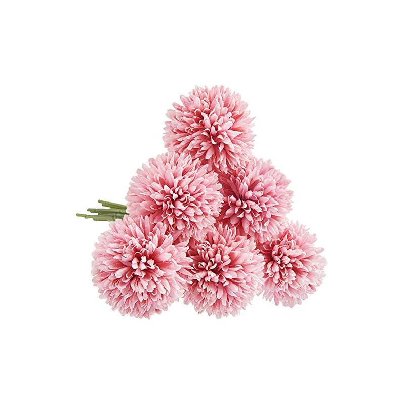 silk flower arrangements cqure artificial flowers, fake flowers silk plastic artificial hydrangea 6 heads bridal wedding bouquet for home garden party wedding decoration 6pcs (deep pink)