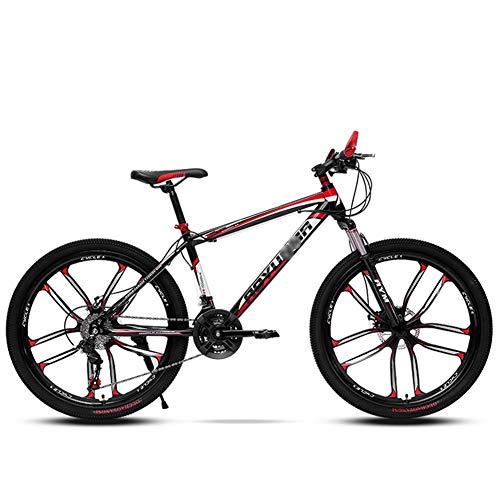 Mrzyzy Bicicleta de montaña de 26 Pulgadas, 21/24 velocidades con Freno de Disco Doble, MTB para Adultos de Acero con Alto Contenido de Carbono, Bicicleta rígida con Asiento Ajustable