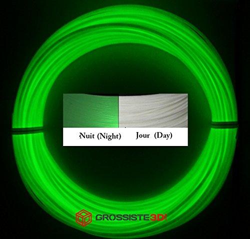 Grossiste3D - Rotolo di 10 metri di filamento 3D in plastica PLA, 1,75 mm, per penna 3D o stampante 3D, colore: Verde fosforescente