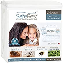 SafeRest Premium Lab Certified Bed Bug Proof Zippered Mattress Encasement - Waterproof - Hypoallergenic, Breathable, Noiseless and Vinyl Free (Fits 15 - 18 in. H) Queen Size