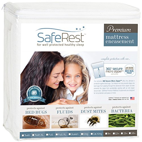 SafeRest Premium Zippered Mattress Encasement - Lab Tested Bed Bug Proof, Dust Mite Proof and Waterproof - Hypoallergenic, Breathable, Noiseless and Vinyl Free (Fits 9 - 12 in. H) - Twin Size