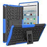 ROISKIN Amazon Fire 10 Tablet Case (2019/2017 Released 9th/7th Generation), [Kickstand Feature] Dual Layer Heavy Duty Shockproof Impact Resistance Protective Case for All-New Kindle Fire HD 10,Blue