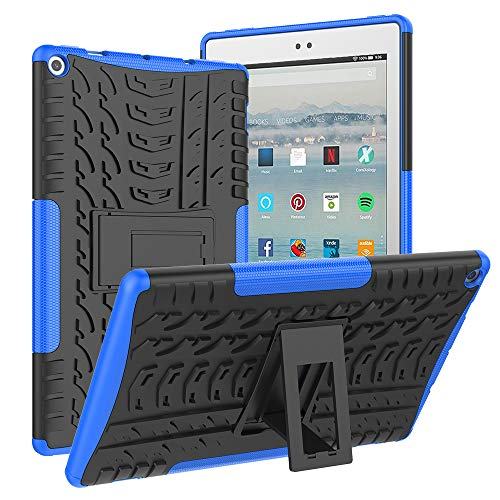 ROISKIN for Amazon Fire HD 10 Tablet Case (2019/2017 Released 9th/7th Generation), [Kickstand Feature] Dual Layer Heavy Duty Shockproof Impact Resistance Protective Case for Kindle Fire HD 10,Blue