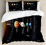 Juego de fundas nórdicas para el espacio exterior, Sistema Solar Información científica Impresión del telescopio del universo de Júpiter Saturno, Juego de cama decorativo de 3 piezas con 2 fundas de a