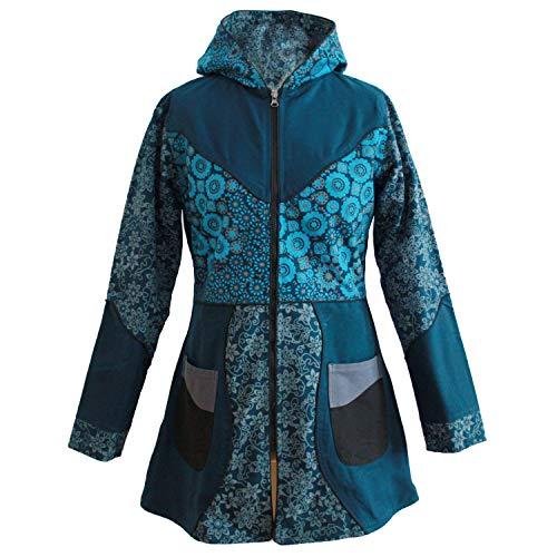 Mateena Damen Jacke mit Fleecefutter, Kapuzenjacke, Patchworkjacke aus Nepal, Kurzmantel, Wintermantel, Übergangsjacke (S, Petrol)